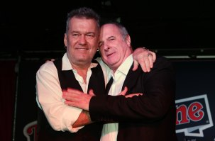 Jimmy Barnes with Michael Gudinski after he presented the Rolling Stone Award to Michael at the Rolling Stone 4th Annual Awards at Bondi, 2013