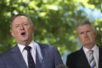 Opposition Leader Anthony Albanese and Labor's industrial relations spokesman Tony Burke.