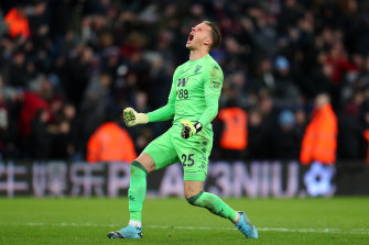 Orjan Nyland made several crucial saves in the first half and celebrated wildly after the final whistle.