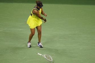 Showing her frustration: Naomi Osaka.