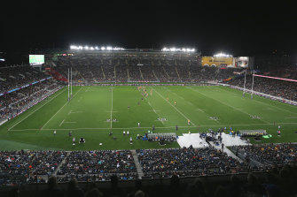 A near capacity crowd at Eden Park has given the NRL food for thought about where it's grand final should be played.