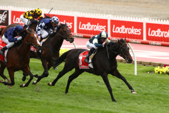 Glen Boss steers Sir Dragonet to victory in the Cox Plate on Saturday.