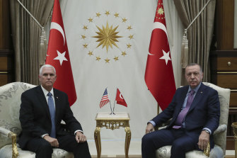 Pence and Erdogan met at the presidential palace in Ankara on Thursday, local time.