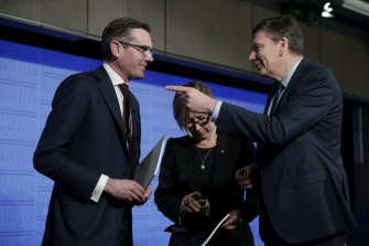 NSW Treasurer Dominic Perrottet, Jane Halton and David Thodey during a panel discussion at the National Press Club of Australia in Canberra on Wednesday.