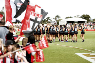 A capacity crowd of 8000 packed into Moorabbin to watch the Saints' first AFLW game on Sunday.