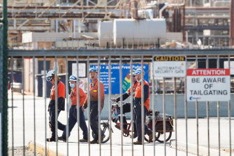 Workers at the Altona refinery on Wednesday