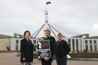 Helen Dalley-Fisher, Janine Hendry and Sharon Buikstra ahead of the Women's March 4 Justice at Parliament House.