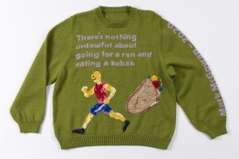Emma Buswell's hand-knitted There's Nothing Unlawful About Going For a Run and Having a Kebab (2020).