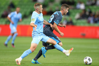 Tight tussle: Melbourne City v Sydney FC.