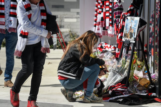 Fans gathering for Danny Frawley's funeral at Moorabbin.
