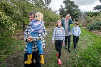 Richard and Tracey Haynes, pictured with their children Elizabeth, William and Andrew, have picked work on a farm and at a supermarket while stood down from Virgin.