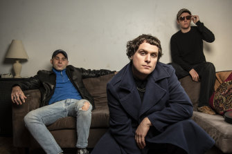 Sydney indie rockers DMA'S, (from left) Matt Mason, Johnny Took and Tommy O'Dell, are swapping their Britpop sound for a splash of dance music with new album The Glow.