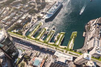 An artist's impression of Sydney architectural firm CplusC's design for the redevelopment of Circular Quay.