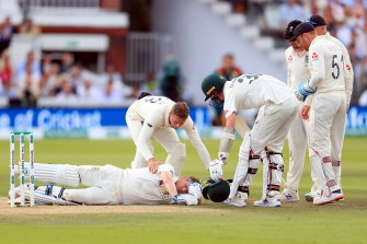 Steve Smith after being hit on the side of the neck on day four of the second Ashes Test.
