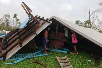 The Rowhani Bahai School assembly hall in Luganville, Vanuatu, after Tropical Cyclone Harold struck the Pacific nation.