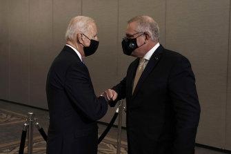 Prime Minister Scott Morrison holds talks with US President Joe Biden in New York.