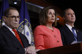 House Speaker Nancy Pelosi, centre, announced that Jerry Nadler, left, and Adam Schiff would be among the House prosecutors.