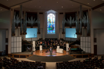 A service in Charlotte's First Baptist Church.