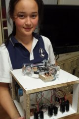 Josephine Collins five years ago with the original Personal Particle Accelerator she built for year 7 science.