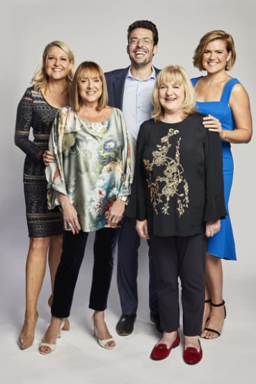 The most recent Studio 10 line-up (from left): Angela Bishop, Denise Drysdale, Joe Hildebrand, Denise Scott and Sarah Harris.