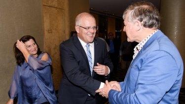 Prime Minister Scott Morrison arrives at Gladys Berejiklian's election night event in Sydney.