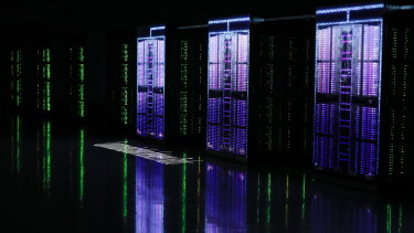Japan's new supercomputer is unveiled to the media at Riken Center for Computational Science in Kobe, Japan.
