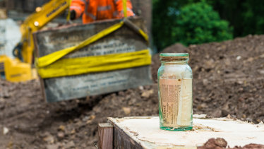 A time capsule found during digging as part of the project.