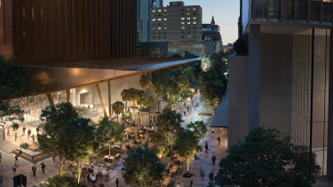 A concept image of the new train station and plaza at Albert Street as part of Cross River Rail.