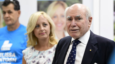 Former prime minister John Howard and Liberal candidate Melissa McIntosh while campaigning in Lindsay.