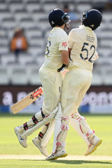 Joe Root of England collides with Dom Sibley in a botched single.