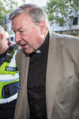 Cardinal George Pell arrives at Melbourne Magistrates Court in March 2018.