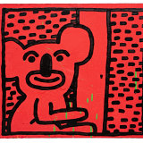 Keith Haring, Untitled (1982). Oil on wood panel. Private collection.