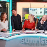 Sunrise newsreader Natalie Barr, executive producer Michael Pell, and hosts Samantha Armytage and David Koch.