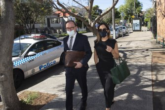Kristin Fisher arrives at Waverley Local Court on Wednesday with her lawyer Michael Bowe.
