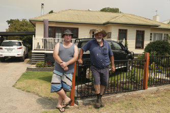 Bruthen residents Matt Hooton with father Len Hooton.