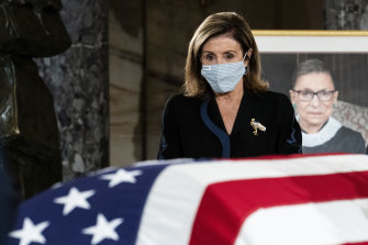 House Speaker Nancy Pelosi pays her respects to  Justice Ruth Bader Ginsburg.