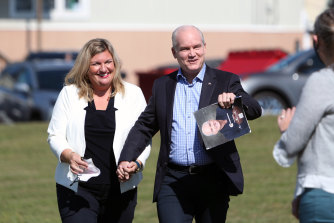 Erin O'Toole, leader of Canada's Conservative Party, right, and his wife Rebecca O'Toole.