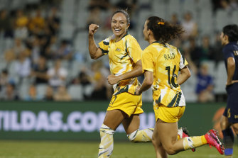 Kyah Simon was in hot form for the Matildas last month.