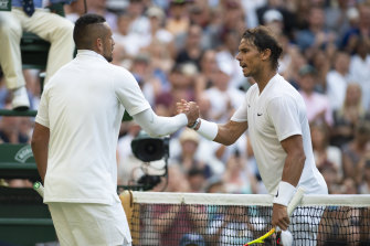 Nick Kyrgios and Rafa Nadal after the Spaniard's win at Wimbledon in 2019.