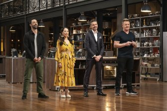 MasterChef Australia judges Andy Allen, Melissa Leong and Jock Zonfrillo with guest chef Gordon Ramsay.