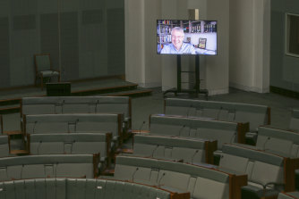 Videoconference capabilities in the House of Representatives are tested out with Shadow Attorney-General Mark Dreyfus ahead of the resumption of Parliament.