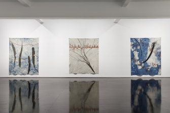 "Installation view of Judy Watson's show ""memory scars, dreams and gardens"" at Tolarno Galleries."