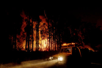 Department of Environment, Land, Water and Planning and CFA crews monitor fires and begin back burns between the towns of Orbost and Lakes Entrance in East Gipplsland in 2020.