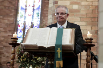 Scott Morrison during an Ecumenical Service to commemorate the commencement of Parliament for 2019.