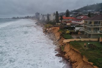 Narrabeen on Sydney's northern beaches is one area facing the prospect of erosion as waves from another big low pressure system in the Tasman Sea pound eastern Australia.
