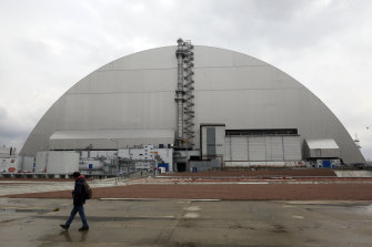 The enormous protective dome over the top of the exploded Chernobyl reactor building.