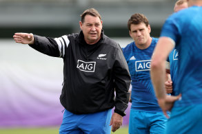 Steve Hansen puts the All Blacks through their paces at Tatsuminomori Seaside Park in Tokyo on Tuesday.