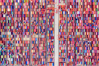 Shipping containers seen from above at the world's biggest automated container port, Yangshan Deepwater Port in Shanghai.