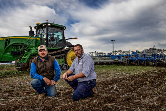 Farmers Jonathan Collins and Ashley Fraser in the field at Lilliput, near Rutherglen.