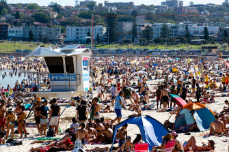 Bondi Beach was almost at full capacity but still open on Monday.